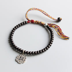 Pema Bracelet -Natural Coconut Shell With Silver Mantra Charm