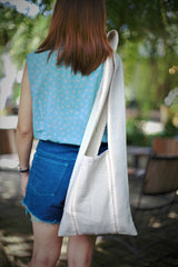 Handmade Minimalist Cross-Body Stripe Cotton Bag