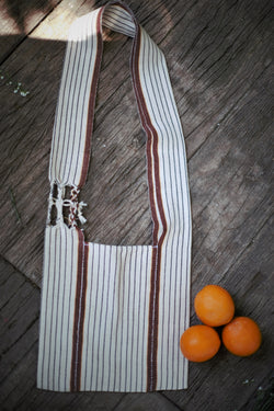 Handmade Minimalist Cross-Body Brown Stripe Cotton Bag