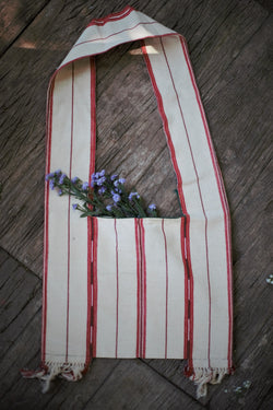 Handmade Hill Tribe Red Stripe Cotton Bag