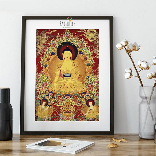 Tibetan Buddhism Shakyamuni Buddha Thangka Printing Canvas Wall Art Home Decor