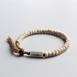 Karma Bracelet - Tibetan Bodhi Seed With Rainbow Rope And Mantra Charm