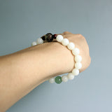 Zen White Bodhi Seed With Green Jade Buddhist Bracelet