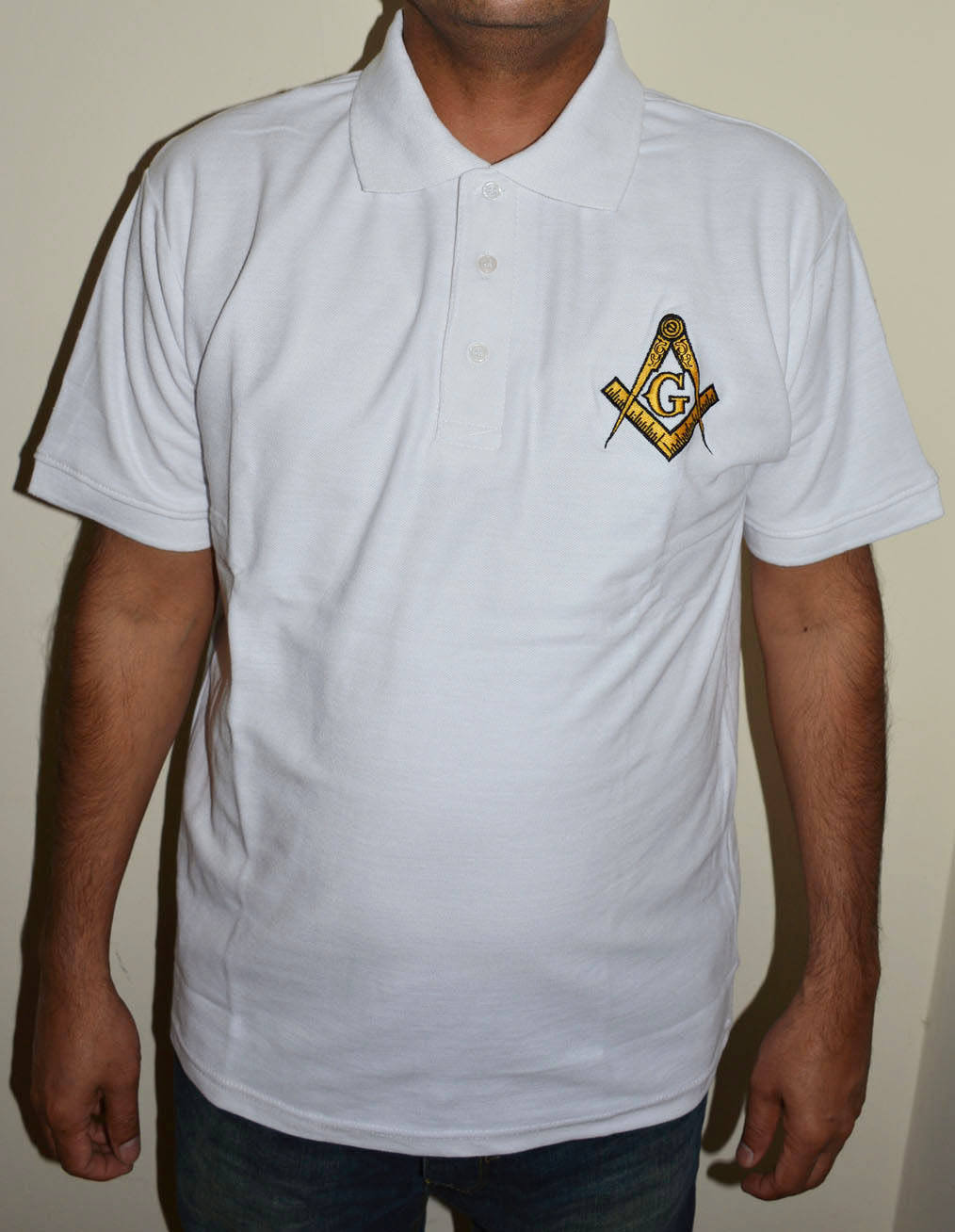 Masonic Compass and Square emblem Custom Embroidered Polo Shirt