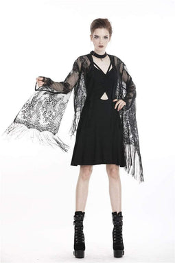 DARK IN LOVE Damen Goth Black Tasseled Mesh Kimono Cape