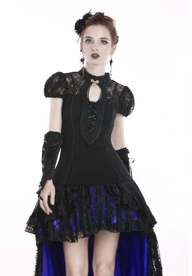 DARK IN LOVE Women's Goth Lacing Hollow Puff Sleeved Lace Tops