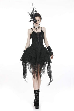 DARK IN LOVE Damen Goth Lolita Multilayered Lace Irrgular Slip Dress