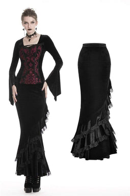 DARK IN LOVE Damen Gothic Black Velvet Long Fishtail Bleistiftröcke