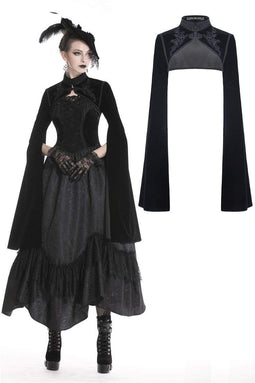 DARK IN LOVE Women's Gothic Black Velvet Witch Capes With Long Big Sleeves
