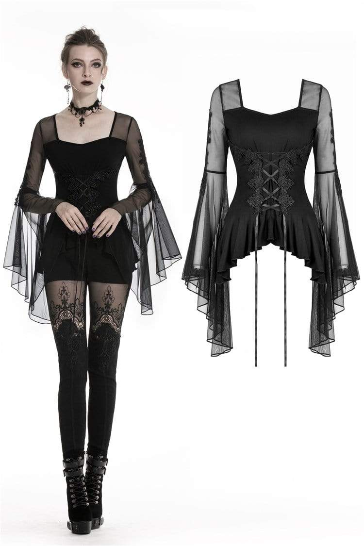 DARK IN LOVE Women's Gothic Butterfly Sleeved Lace-up Tops With Irregular Hem