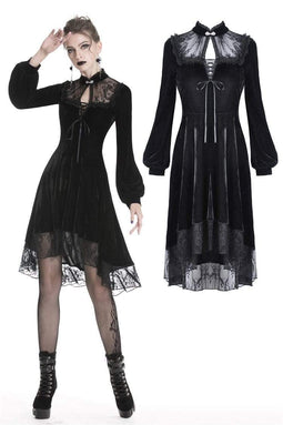 DARK IN LOVE Women's Gothic Floral Lace Overlaid Velvet Sexy Dresses