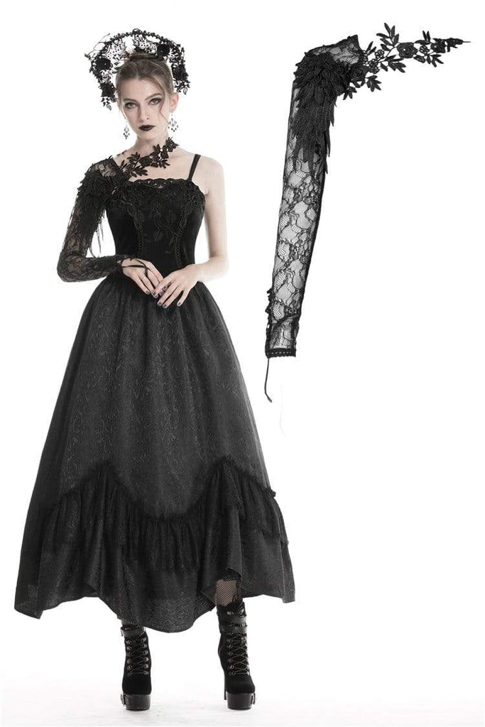 DARK IN LOVE Women's Gothic Half Lace Sleeve With Flowers