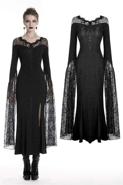 DARK IN LOVE Women's Gothic Lace Shoulder Party Pencil Dresses With Hugu Lace Sleeves