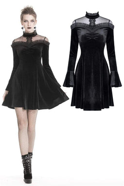 DARK IN LOVE Damen Gothic Lolita Lace Shoulder Velvet Kleider für Prom