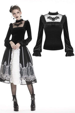 DARK IN LOVE Damen Gothic Lolita Sheer Square Collar Cute Tops