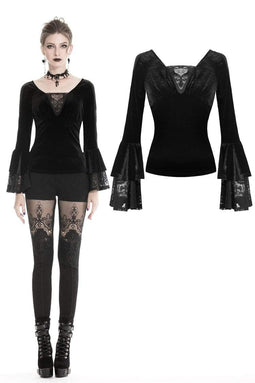DARK IN LOVE Women's Gothic Multi-Layed Sleeved Velvet Tops With Lace Long Sleeves