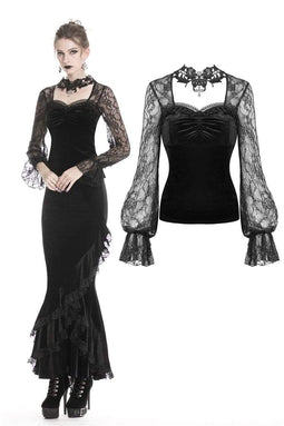 DARK IN LOVE Women's Gothic Necklace Design T-shirts With Lace Sleeves