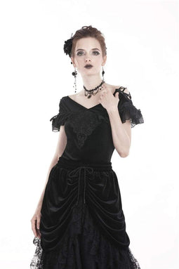 DARK IN LOVE Damen Gothic Off Shoulder Velvet Kurzarm Tops