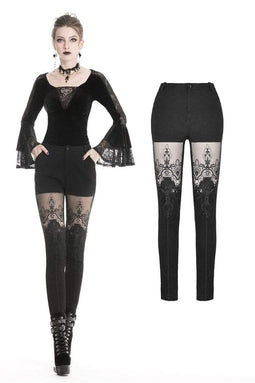 DARK IN LOVE Women's Gothic Punk Victorian Tight Leggings With Sexy Flower