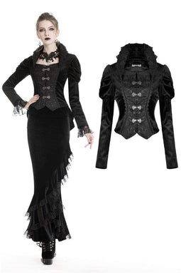 DARK IN LOVE Women's Gothic Rruched Hollow Out Button Fly Blouses Jackets