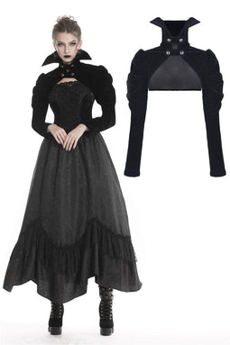 DARK IN LOVE Women's Gothic Ruched Black Velvet Capes With High Collar