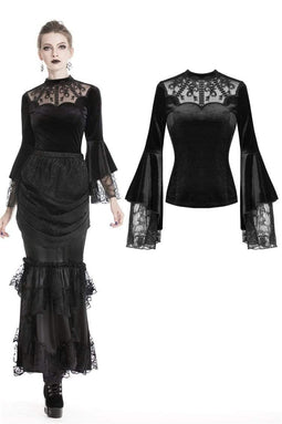 DARK IN LOVE Damen Gothic Sexy Lace Langarm Samt Tops