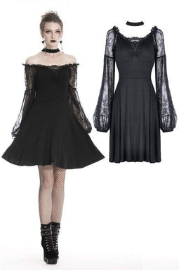 DARK IN LOVE Women's Gothic Strapless Halter Dresses With Sheer Lace Sleeves