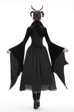 DARK IN LOVE Women's Gothic Velvet Vampire Capes With Long Bat Sleeves