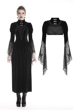 DARK IN LOVE Women's Gothic Velvet Vlack Capes With Mesh Big Sleeves