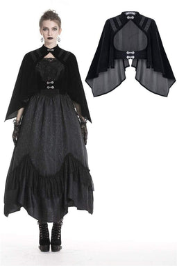 DARK IN LOVE Women's Gothic Waisted Cocktail Velvet Black Capes