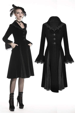 DARK IN LOVE Women's Gothic  Warm Belted Coat With Clamped Lace Hem