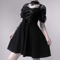 DARK IN LOVE Women's Lolita Floral Lace Halterneck Velvet Black Little Dress