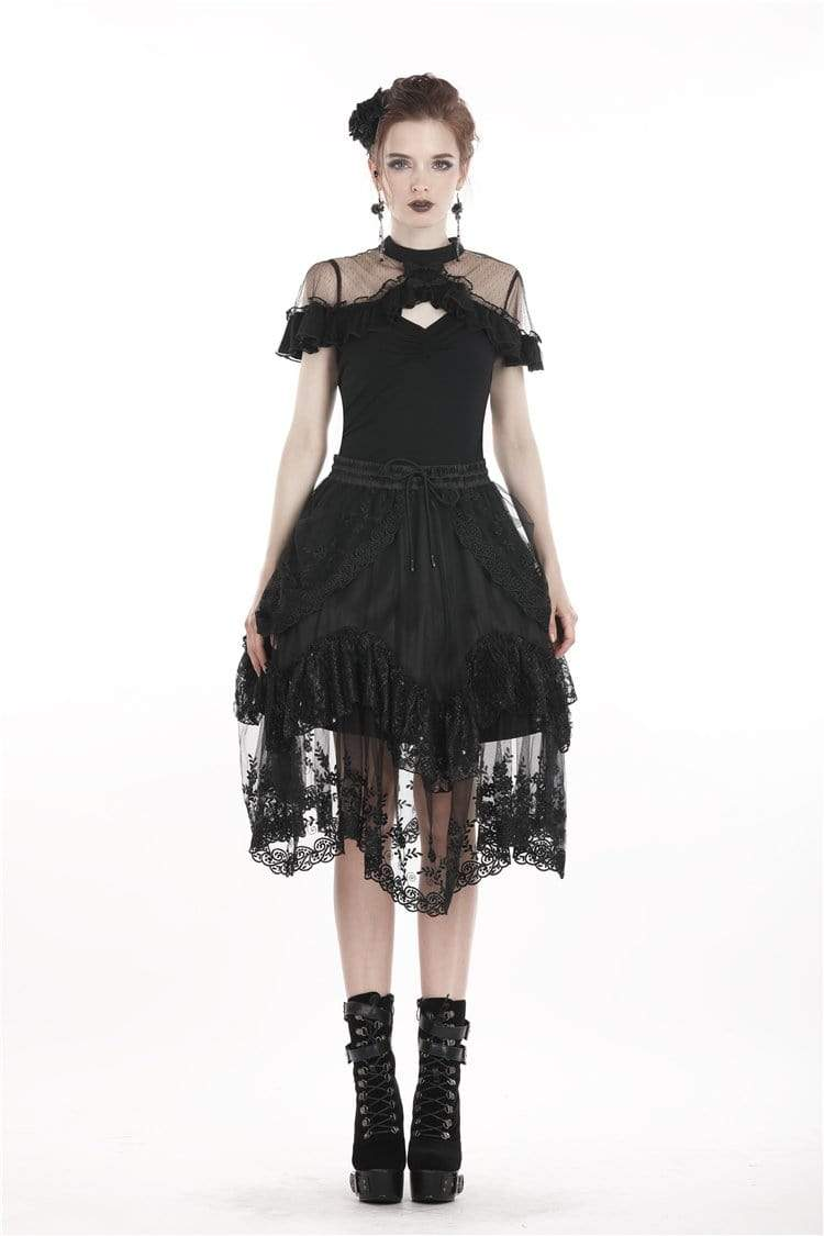 DARK IN LOVE Damen Lolita Floral Lace Rock