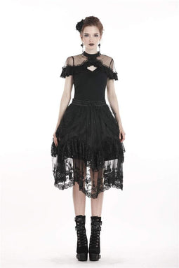 DARK IN LOVE Women's Lolita Floral Lace Skirt
