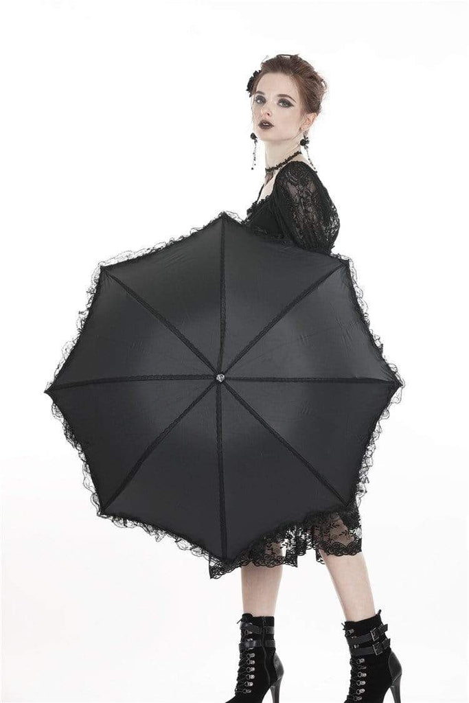 DARK IN LOVE Women's Lolita Lace Trim Telescopic Umbrella Black