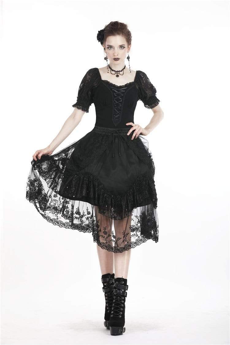 DARK IN LOVE Women's Lolita Lacing Puff Short Sleeved Lace Tops