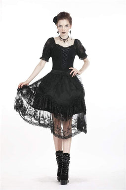 DARK IN LOVE Damen Lolita Lacing Puff Kurzarm-Spitzenoberteile