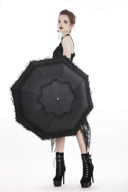 DARK IN LOVE Women's Lolita Princess Lace Telescopic Umbrella Black