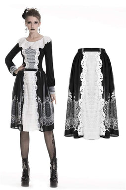 DARK IN LOVE Women's Lolita Print Black&White Lace Circle Skirts