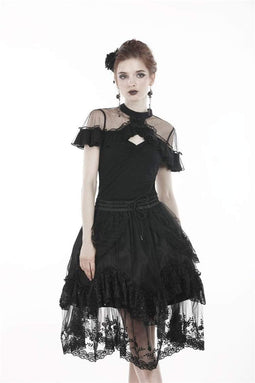 DARK IN LOVE Women's Lolita Sheer Shoulder Stand Collar Short Sleeved Lace Tops