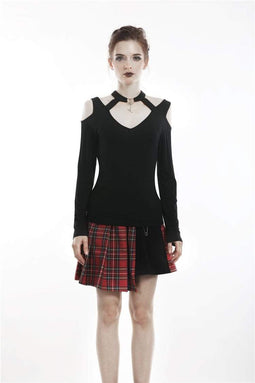 DARK IN LOVE Magliette a maniche lunghe con scollo all'americana e spalle scoperte punk da donna