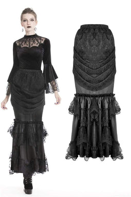 DARK IN LOVE Women's Vintage Lace Ruched Long Tight Skirts