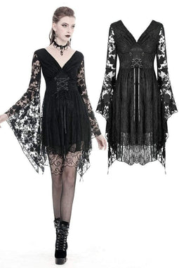 DARKINLOVE Gothic Japanese lace dress with kimono neck