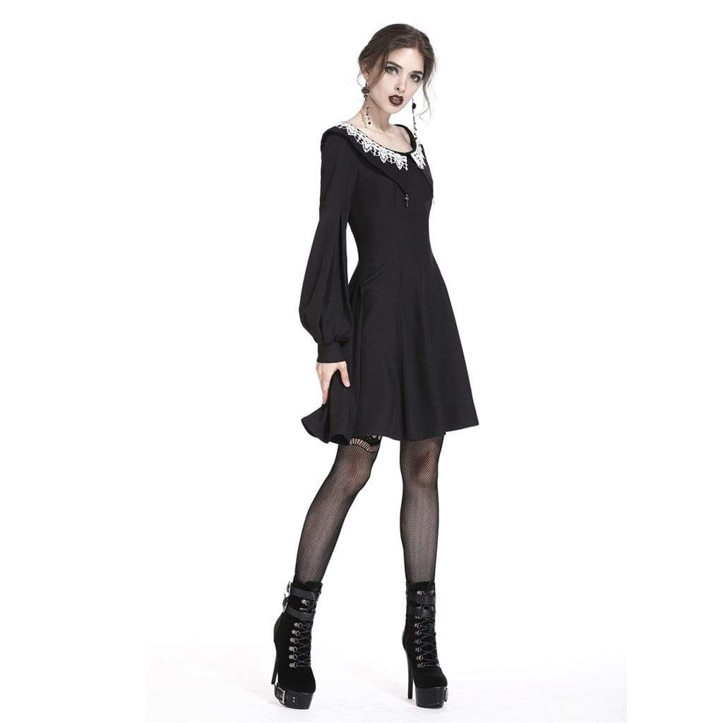 Darkinlove Women's A-line Pilgrim Collar Goth Dress