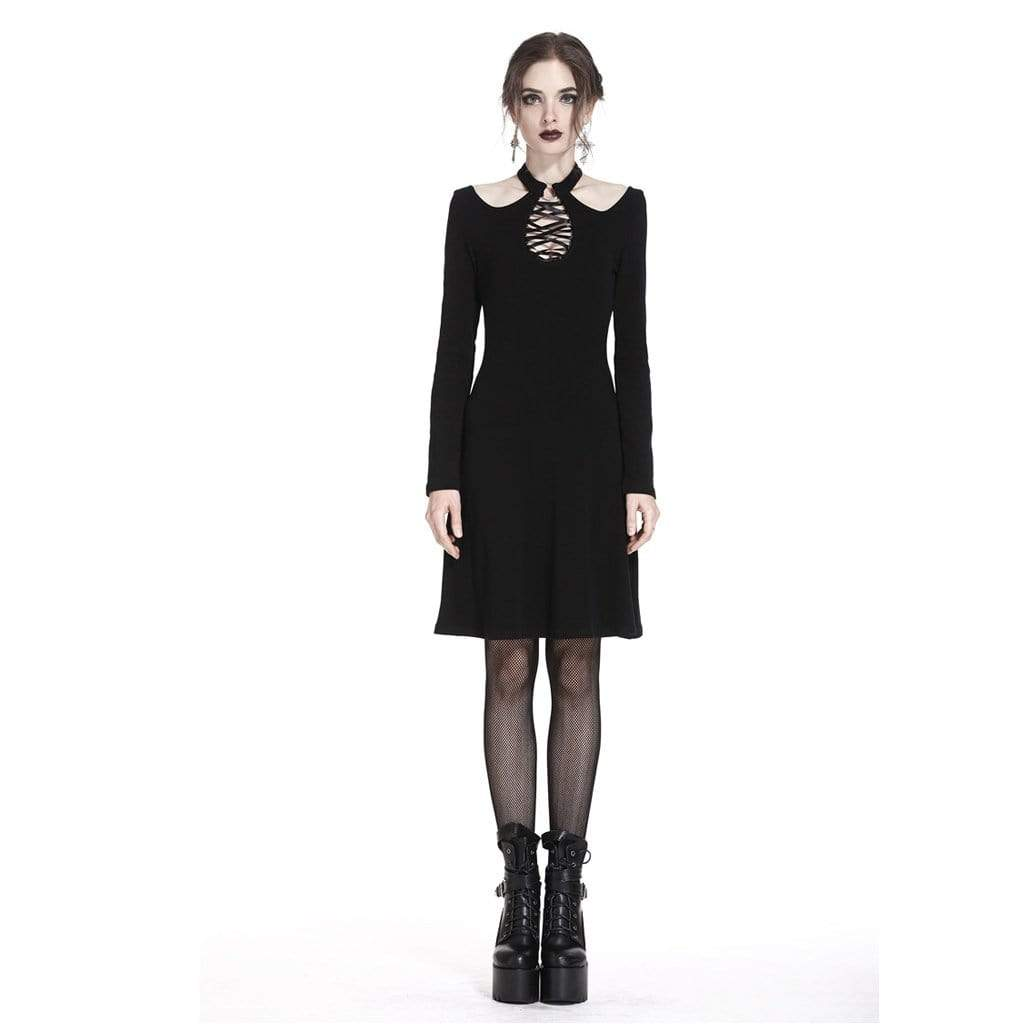 Darkinlove Women's A-line Punk Dress With Peekaboo Neck