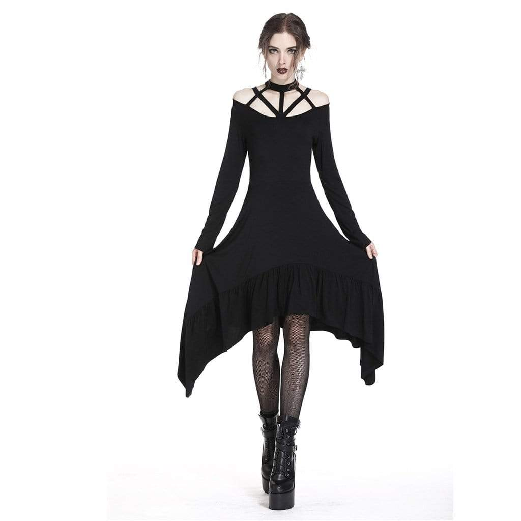 Darkinlove Women's Asymmetric Goth Dress