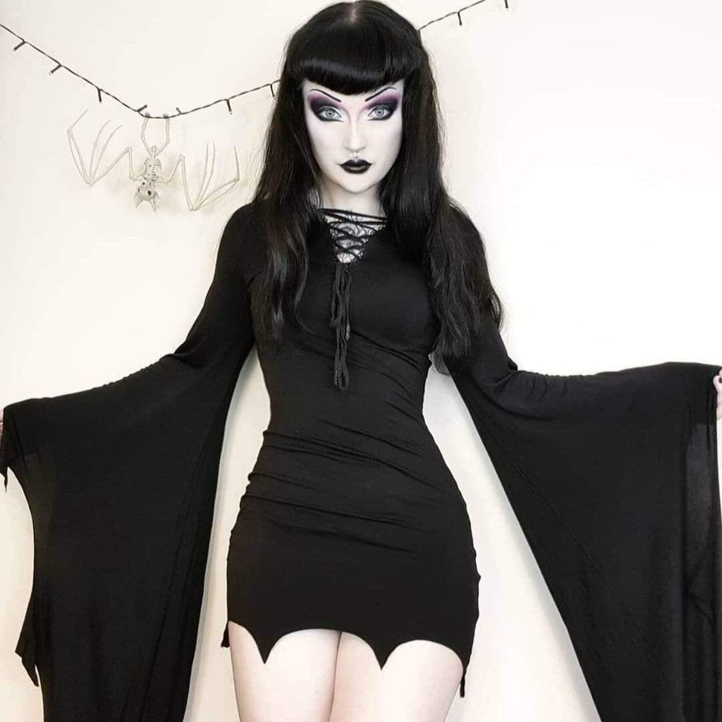Darkinlove Women's Bat Style Gothic Short Dress