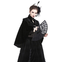 Women's Delicate Goth Style Black Lace Fan-Punk Design