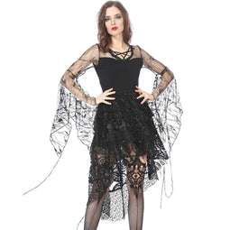 Women's Delicate Lace Sleeved Short Goth Top-Punk Design