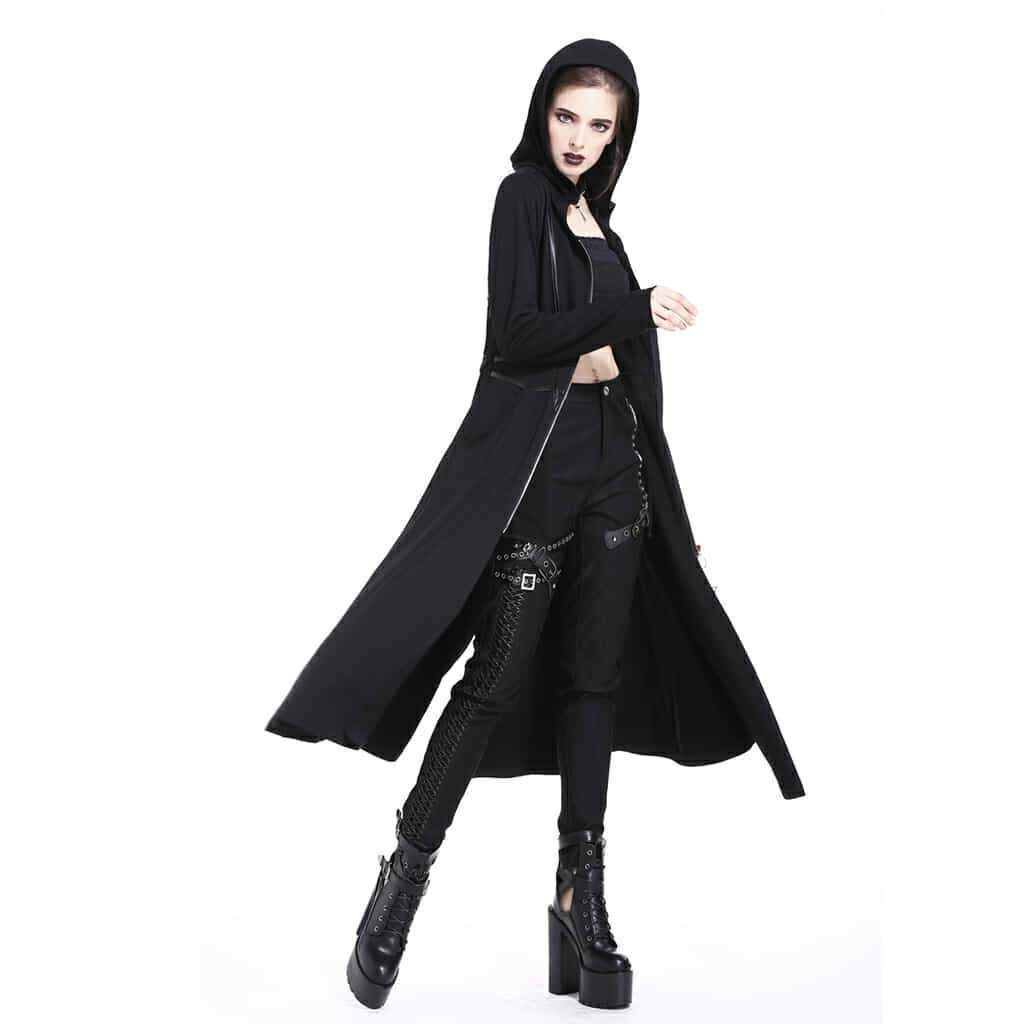 Women's Faux Leather Embellished Long Coat-Punk Design